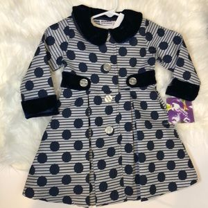 2T Girls Special Occasion Dress Navy and Silver